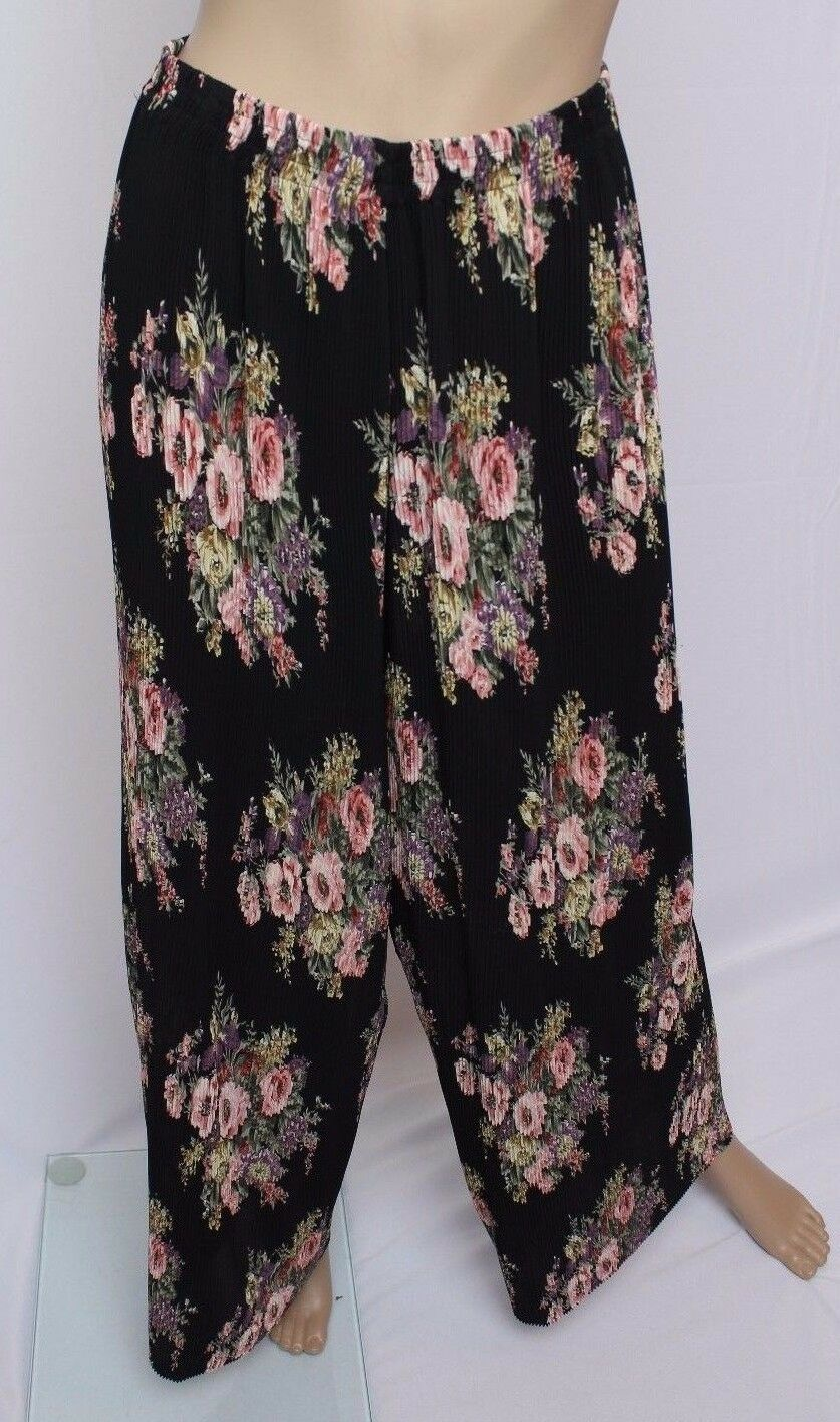 OMG  VTg 90's Express Sheer Accordian Pleated Grunge Floral Palazzo Pants M