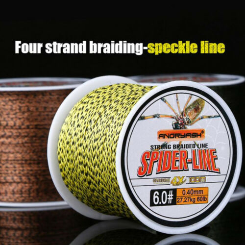 Details about  /4Strand 100m PE Braided Fishing Line Camo Yellow//Brown Strong Endurance 10-60LB.