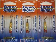 LUHR JENSEN SUPER DUPER TROUT FISHING LURES #1303-501-0151 BRASS GOLD PRISM 3 PK