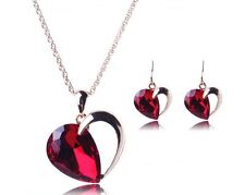 GOLD TONE CHAIN RED FACETED CRYSTAL HEART TEAR DROP NECKLACE & EARRINGS SET