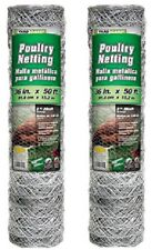 "2 rolls 308475B 36"" x 50'  2"" Mesh Poultry Netting Chicken Wire Fence Fencing"