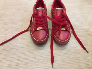 NEW Designer GUESS Red Gold Trainers