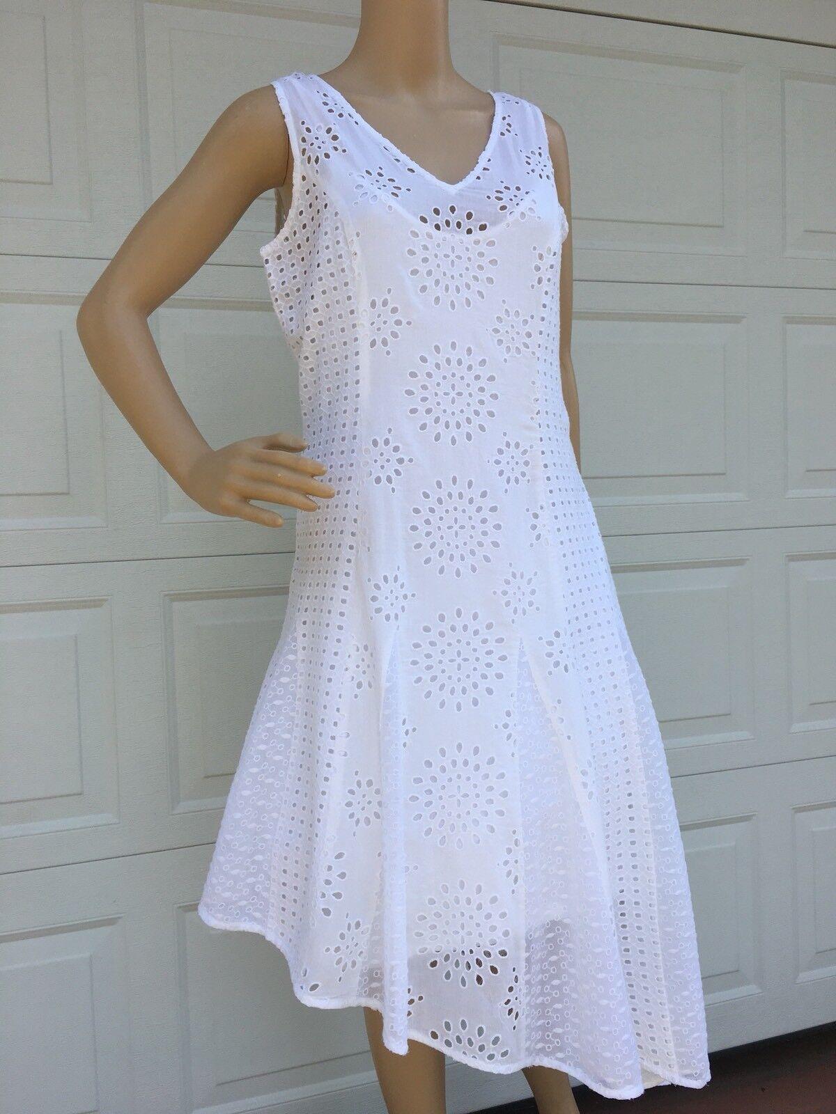 premium selection 09336 8c60d ... NEW SUNDANCE CATALOG White White White Cotton Eyelet Lace Asymmetric  Dress 6 8 10 12 0bb6d4 ...
