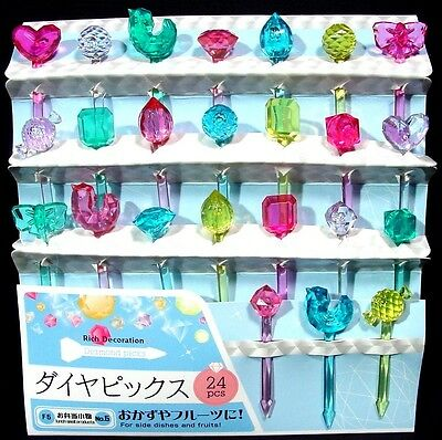 Set of 24 Diamond Style Bento Picks for Obento, Kid's Lunch Box & Party Supply