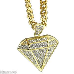 Diamond shape pendant micro pave 30 cuban chain gold tone mens hip image is loading diamond shape pendant micro pave 30 034 cuban aloadofball Image collections