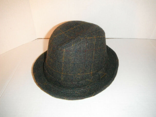 aa238e8d826 STETSON WOOL BLEND TWEED MEDIUM BROWN PLAID FEDORA HAT