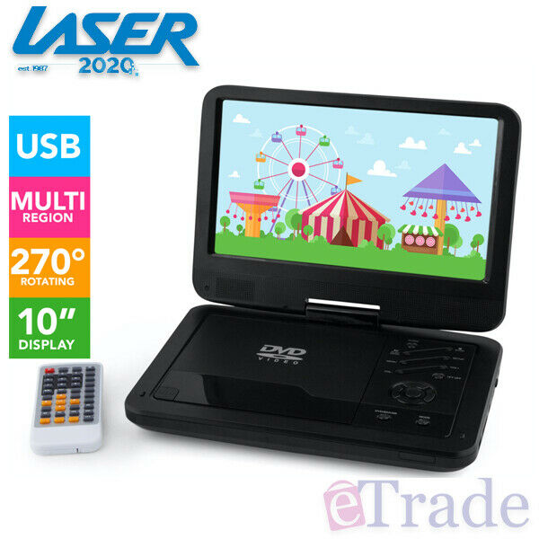"Laser DVD/USB Player Portable 10"" Screen Multi / All Region Free + Headrest Case"