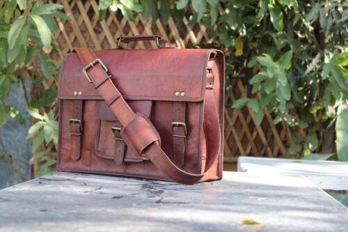 Ziege Tasche Laptop Leder Messenger Sachel Echtes Neue Verbergen Aktentasche qcAT516aw