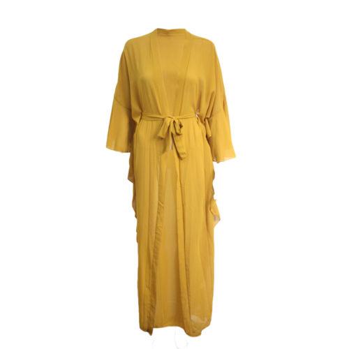 Womens Ladies Long Belted Abaya Kaftan Farasha Jalabiya Kimono Frill Cardigan