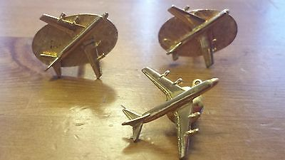 Vintage Brass, Airplane Theme Cuff Links and Neck Tie Pin