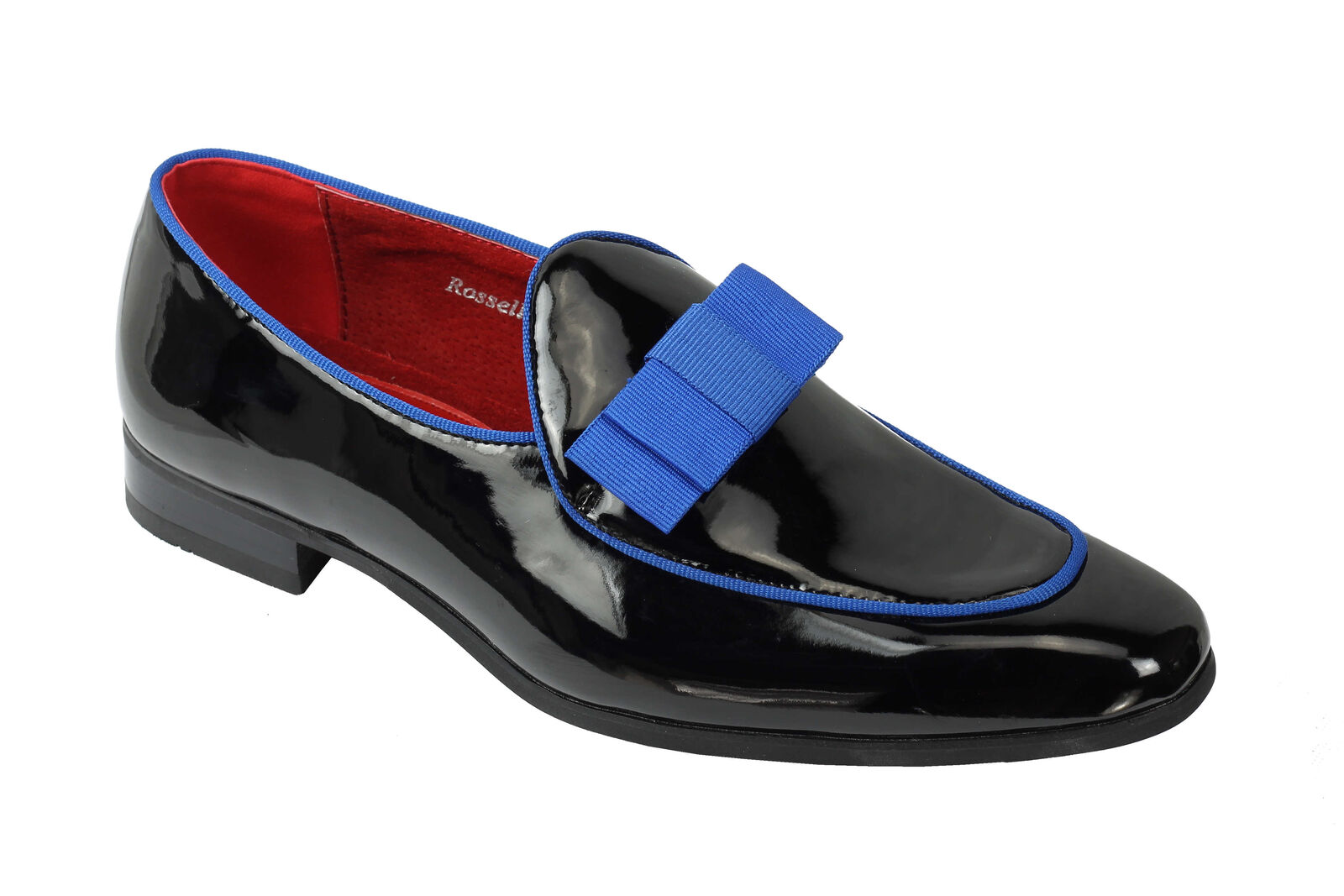 Mens Patent Leather Lined Black Blue Bowtie Tassel Slip on Loafer Smart Shoes