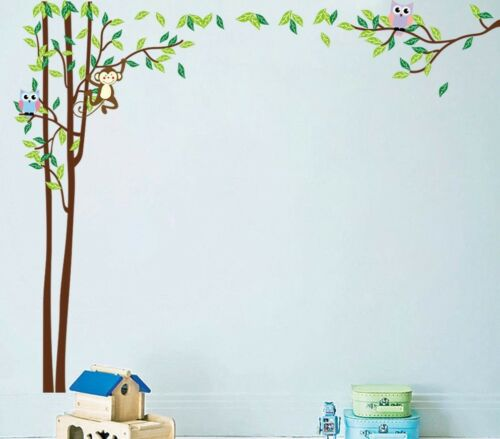 Wall Tattoo Kids Room Photo Owls Baby playroom Animals Forest Flower Tree Decoration