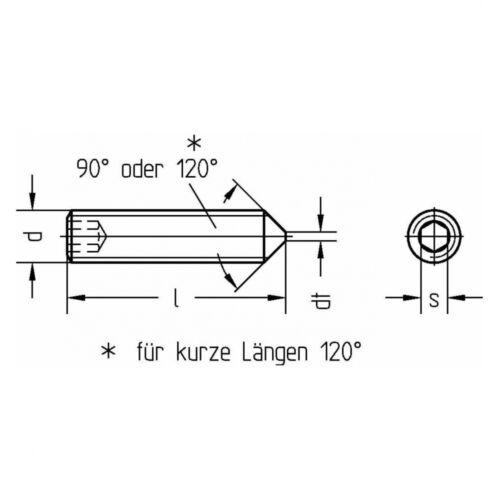 mit Innensechskant//Spitze 50x DIN 914 Gewindestifte M4x10 A2 blank