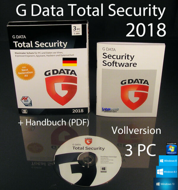 f8af59c3e71 G Data Total Security 2018 Vollversion 3 PC Box, CD + Handbuch (PDF)