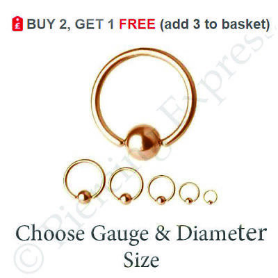 BCR Rose Gold Cartilage Captive Ball Ring 6mm,8mm10mm Inner Diameter 316L Rose Gold Surgical Steel Piercing Ring 16g
