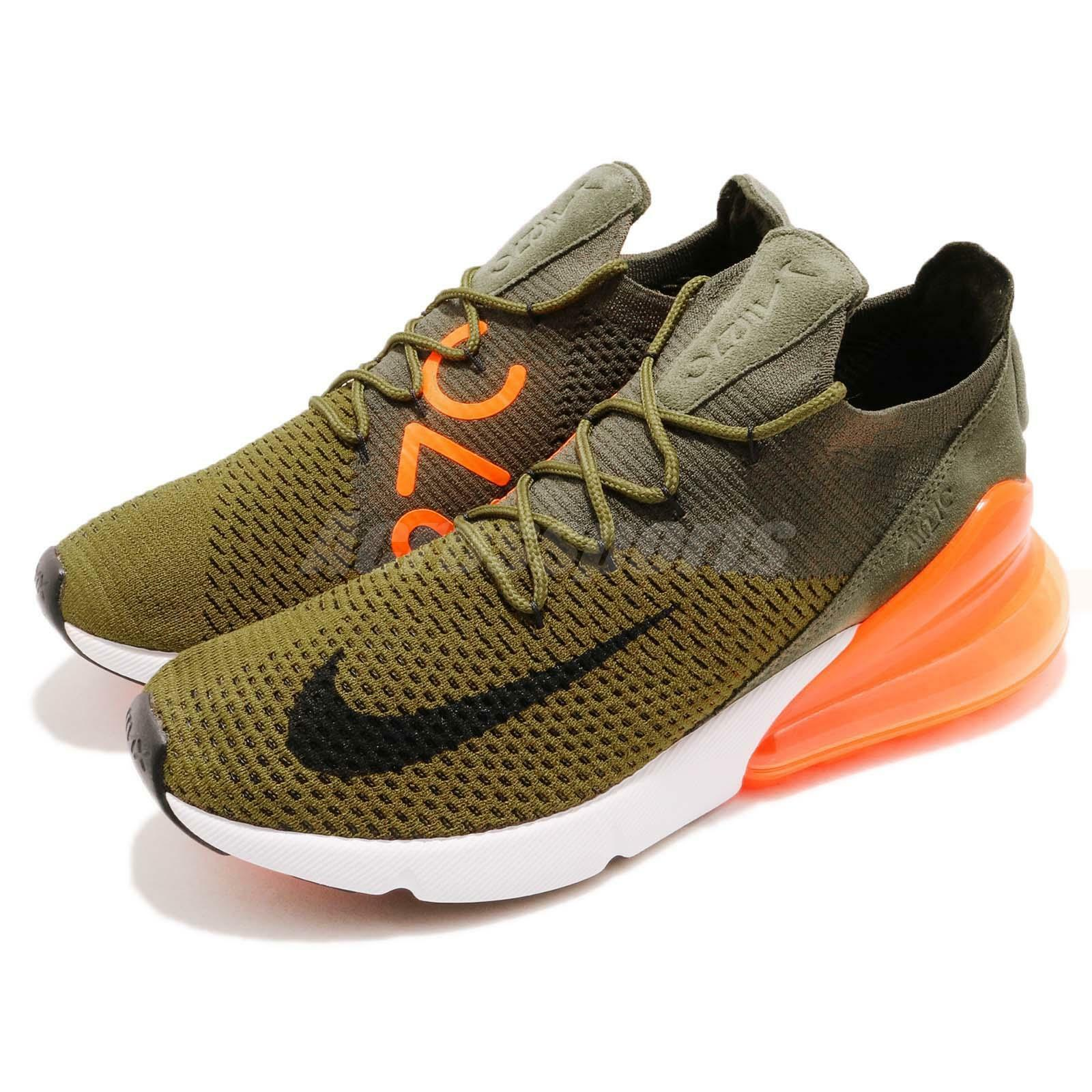 differently the cheapest detailed images Nike Air Max 270 Flyknit Olive Flak Cargo Khaki Orange Men Shoes AO1023-301