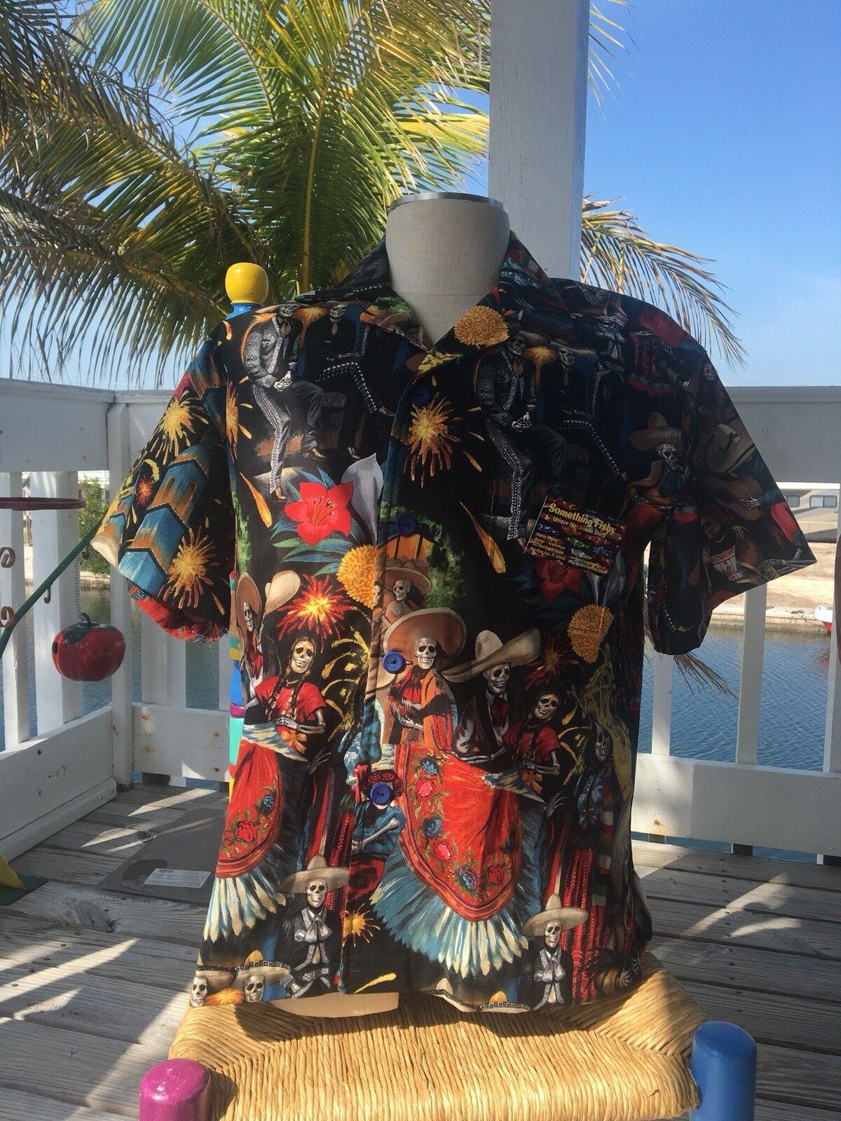 """Fiesta De San Marcos"" SOMETHING FISHY SHIRTS, Handmade, LargeCotton, Hawaiian"