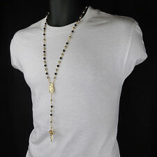 Men HipHop 5mm GOLD/BLACK Beads 14kt G.P Guadalupe Rosary & Jesus Cross Necklace