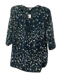 Sonoma-Women-039-s-Pintuck-Peasant-Top-Size-4X-Midnight-Blue-3-4-Sleeve-Tassel-Tie