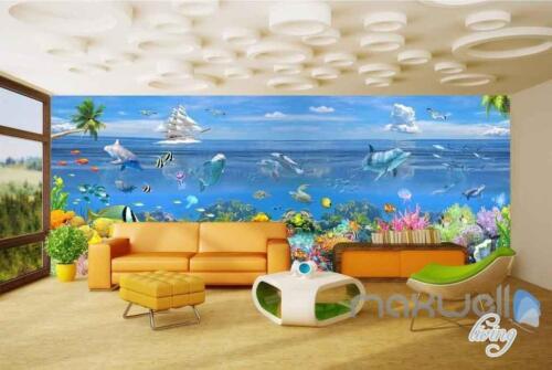 3D Ocean Underwater Colorful Fish Entire Room Wallpaper Wall Murals