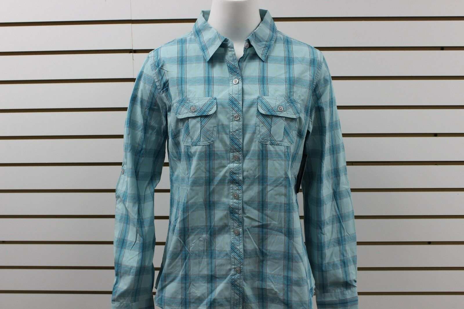 Women Marmot Kristie Plaid Button-Up Long Sleeve Deep Sea 67050 New With Tag