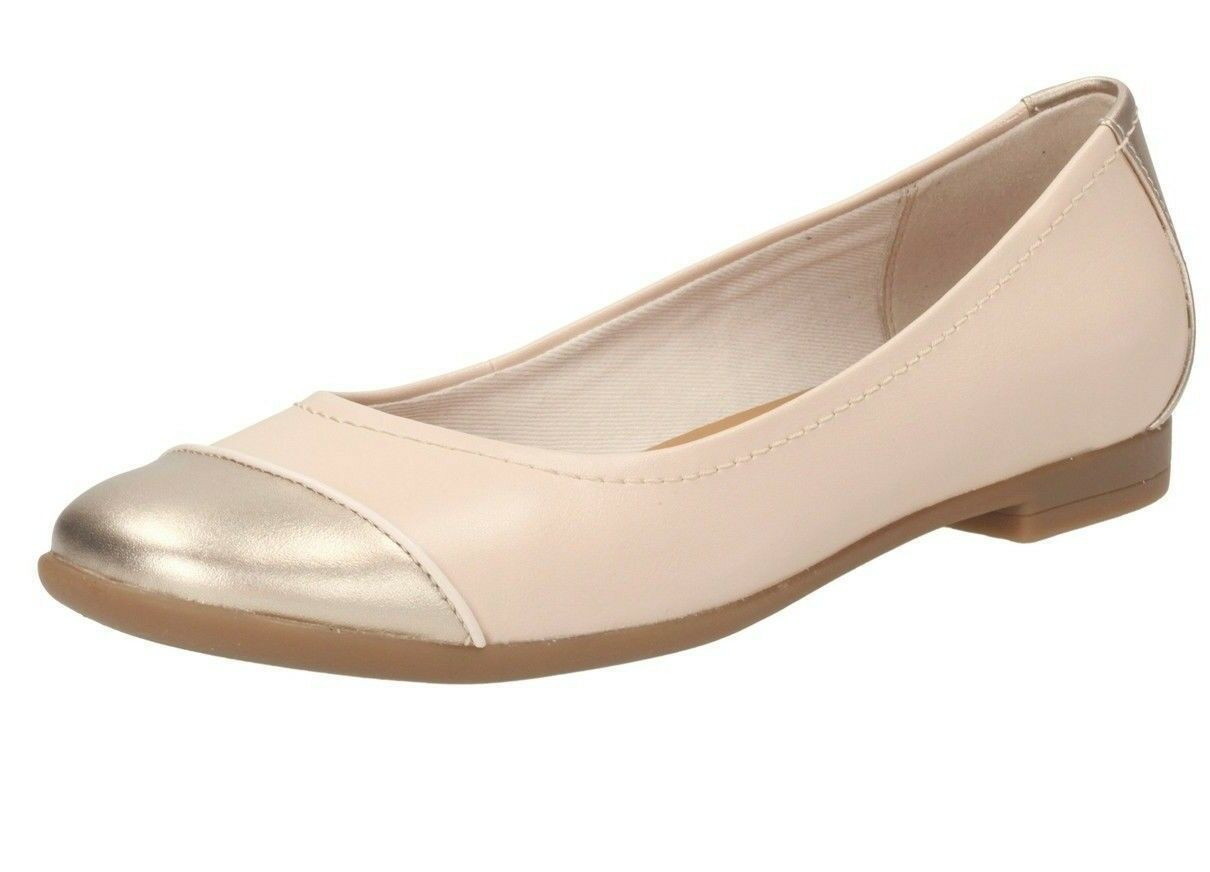 Clarks Atomic Haze Ladies Nude Leather Flat Shoe D D D Fitting (38B) (Kett) 8c6501