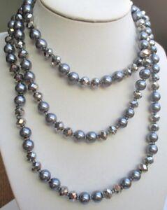 Superbe Grand Collier Sautoir Perles Verre Grises Hématite 120 Cm Bijou Vintage Sans Retour
