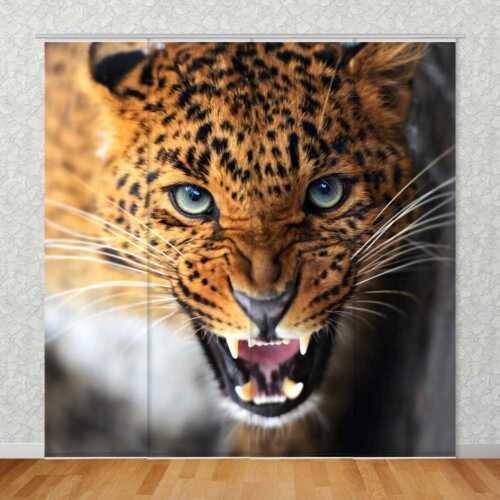 """Schiebevorhang Motiv /'/'Leopard/"""" Flächenvorhang Textildruck Bild"""