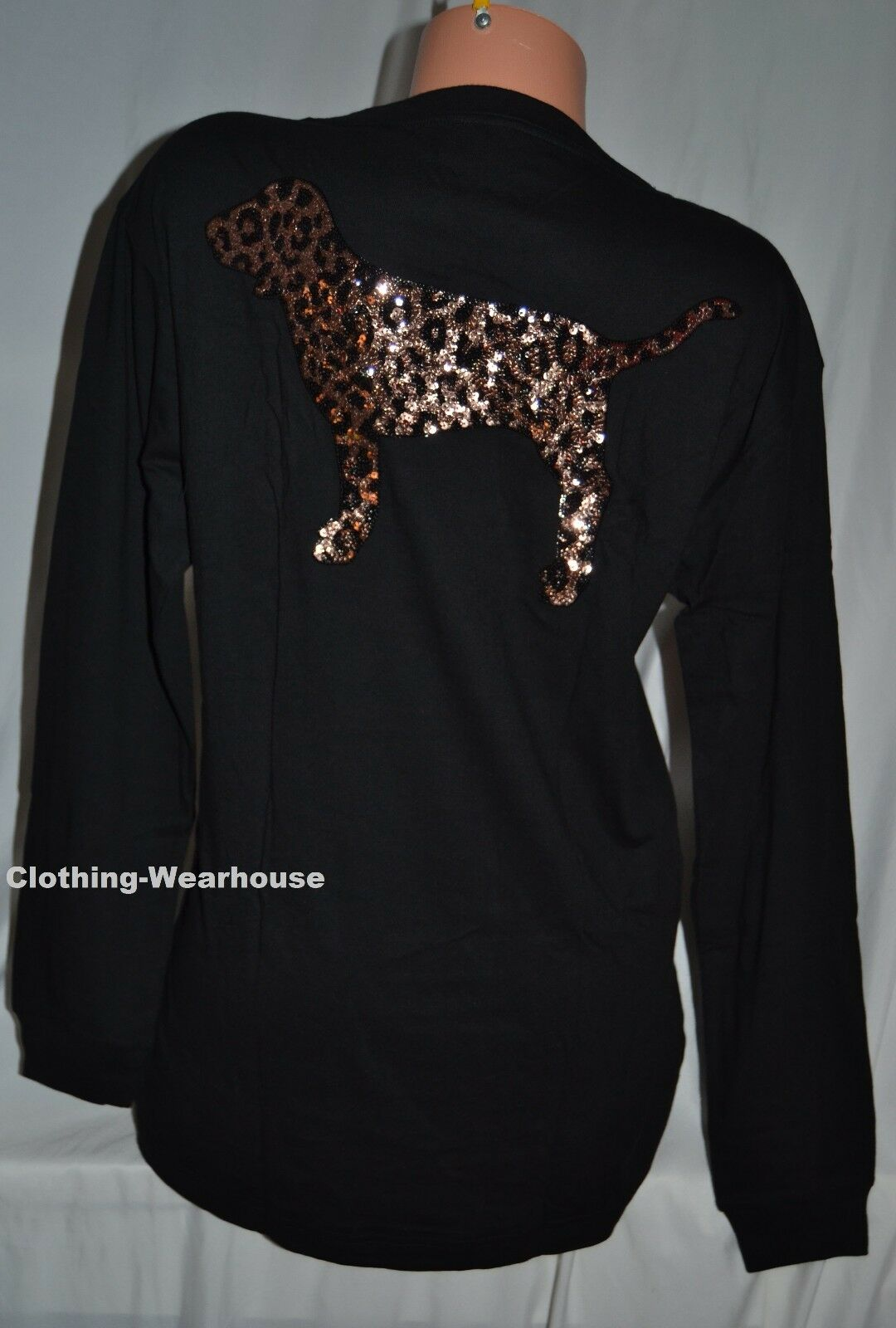 Victoria's Secret Rosa Leopard Bling Dog schwarz Long Sleeve Campus Tee Shirt S
