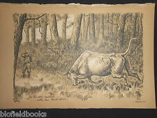 Antiquarian Sporting Print, Shooting a Charging Bull (Fore's Notes/Sport c1886)