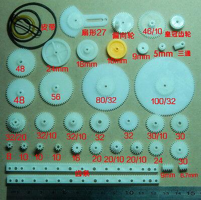 34pcs Plastic gear,rack, pulley, belt,Worm gear,Single -double-gear,8-56 teeth