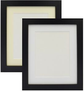 Black-Photo-Picture-Frame-Poster-Frame-With-Mount-Various-Size-White-Ivory-Mount