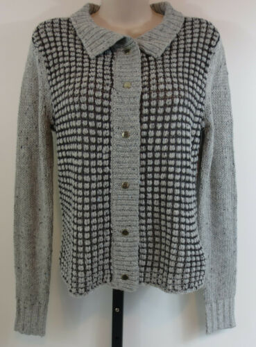 CAbi Womens Size Small Gray Square Stitch Snap But