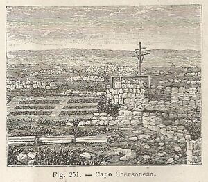 A4971 Capo Chersoneso - Xilografia - Stampa Antica Del 1895 - Engraving Plus De Rabais Sur Les Surprises