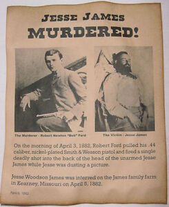 Jesse James Wanted Poster Western Outlaw Old West