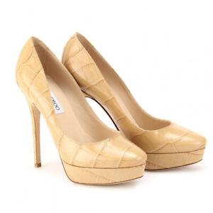 8a9703ccb74 JIMMY CHOO Pumps Cosmic 120Mm Nude Mock Croc Platform Shoes SIZE 39 ...