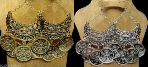 Handmade Egyptian Tribal Gypsy Ethnic Belly Dance Earrings Coins Dangle Pierced