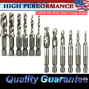 M10 Metric SAE Screw Thread Drill Bits Set 12Pcs HSS Hex Shank Compound Tap M3