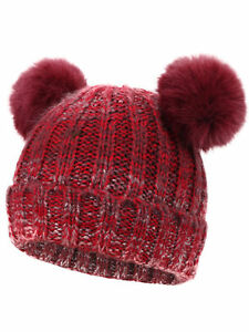 8f0b8c5a4ee Cute Kids Girls   Boys Fur Pom Pom Ears Warm Beanie Winter Ski Hat ...