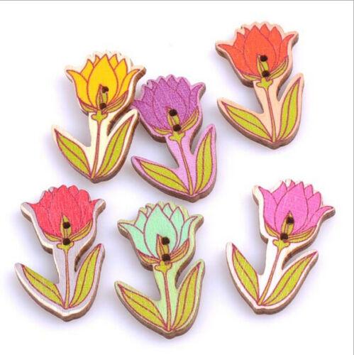 Tulpe Rosette Holz Blumen Knopf //Knöpfe Nähen Dekoration Scrapbooking 40mm