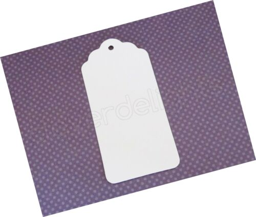 """White Kraft Gift Tags Scalloped Hang Tag Details about  /CleverDelights 100 Pack 3.75/"""" ..."""