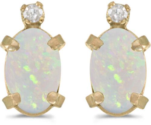 CM-E2209X-10 14k Yellow Gold Oval Opal And Diamond Earrings