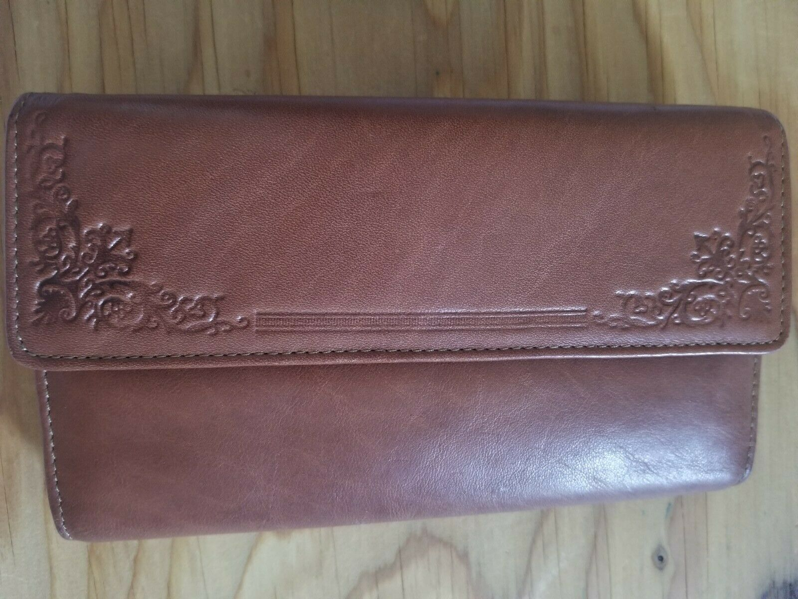 Brown Genuine LEATHER COIN PURSE check Book Unused Wallet