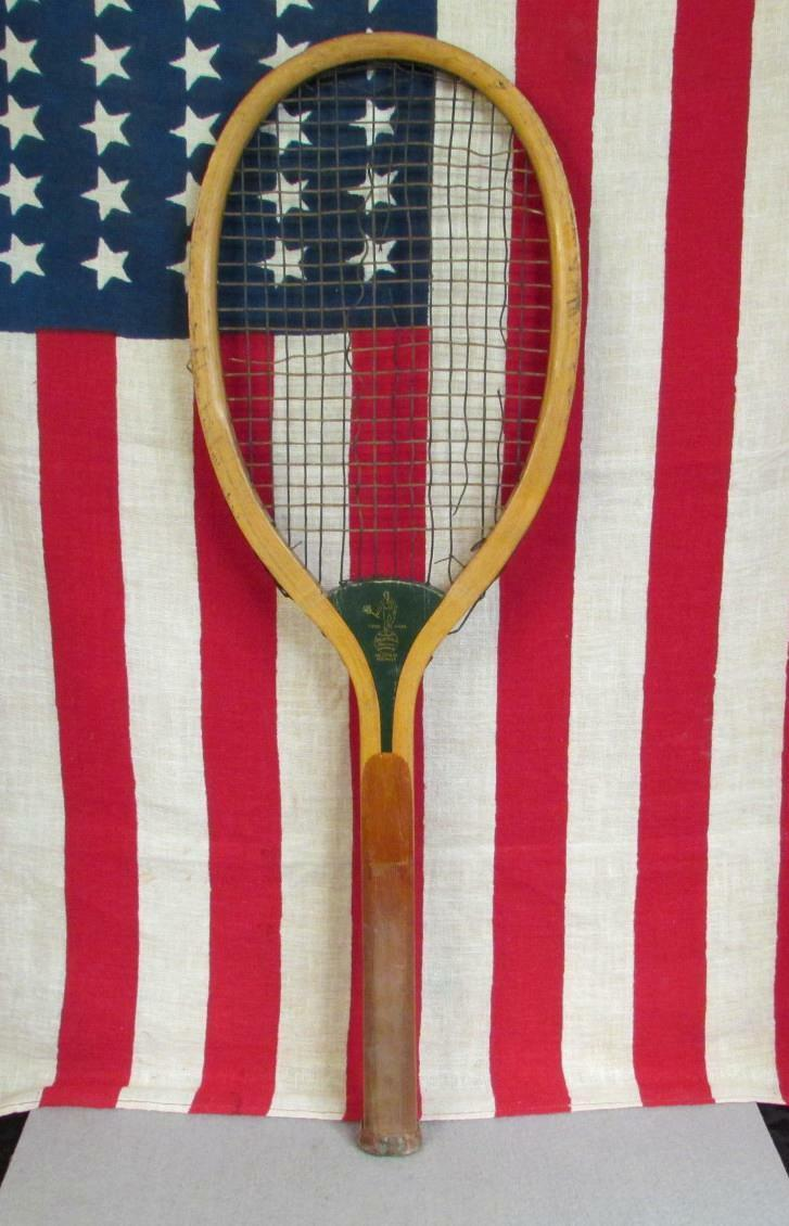 Vintage Wright & Ditson Wood Tennis Racquet The Star early 1900s Antique Display