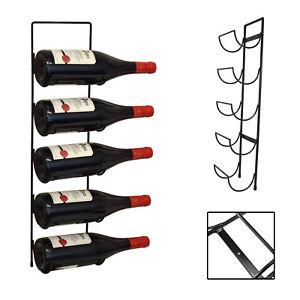 5-Bottle-Wall-Mounted-Black-Metal-Wine-Rack-Storage-Holder