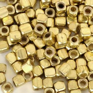 Lot-50-Perle-Cube-3mm-Dore-Acrylique-perle-intercalaire-creation-bijoux