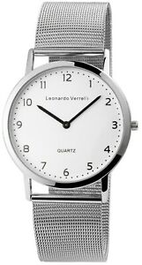 Leonardo-Verrelli-Herrenuhr-Weiss-Analog-Meshband-Armbanduhr-Quarz-X2900129002