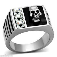 Mens Skull With Crystal Stones Silver Stainless Steel Ring