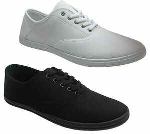 New-Mens-Canvas-Pumps-Plimsoles-Plimsolls-Shoes-Lace-Up-Trainers-Sizes-UK-7-12