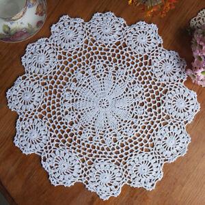 Vintage-Floral-Hand-Crochet-Cotton-Lace-Doily-Round-Flower-Table-Placemat-Mat-US